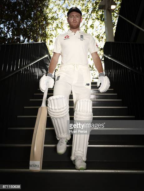 EDITORS NOTE England cricketer Jonny Bairstow poses during a portrait session at Adelaide Oval on November 7 2017 in Adelaide Australia