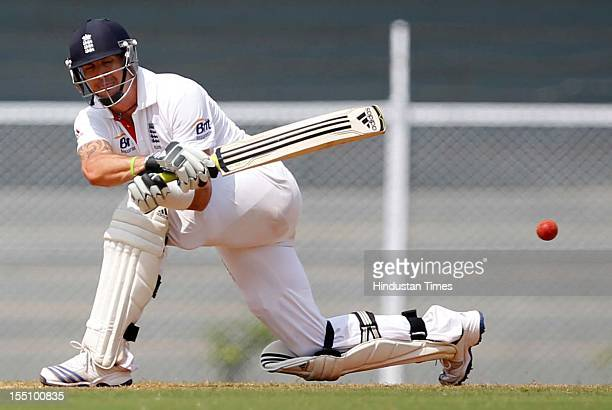 England cricketer Kevin Pietersen plays a shot during the second day of a three day practice match between India 'A' and England at Brabourne stadium...