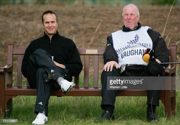 England cricketer Michael Vaughan and his caddie John Newton have a seat and a cup of coffee at the 10th hole during the Third Round of The Alfred...