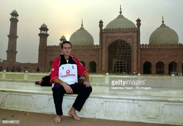England cricketer Michael Vaughan sits in front of the Badshahi Mosque in Lahore England begin a friendly three day game against a Pakistan Cricket...