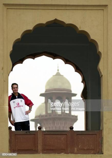 England cricketer Michael Vaughan stands in a window at the Badshahi Mosque in Lahore England begin a friendly three day game against a Pakistan...