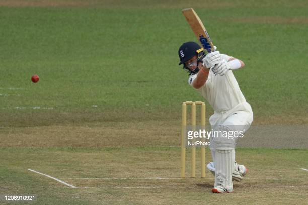 England cricketer Ollie Pope plays a shot during the second day of the 2nd Warm up cricket match between Sri Lanka's Board President's XI and England...
