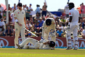 england cricketer rory burns lies down
