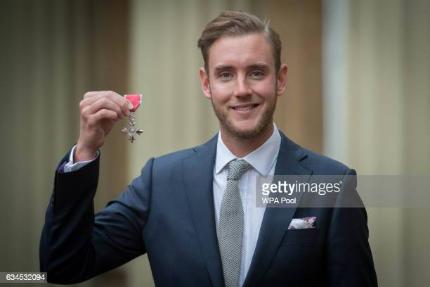 England cricketer Stuart Broad after being made a Member of the Order of the British Empire by the Prince of Wales at an Investiture ceremony at...