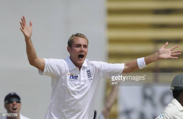 England cricketer Stuart Broad appeals unsuccessfully for a leg before wicket during the fourth day of the first Test match between Bangladesh and...