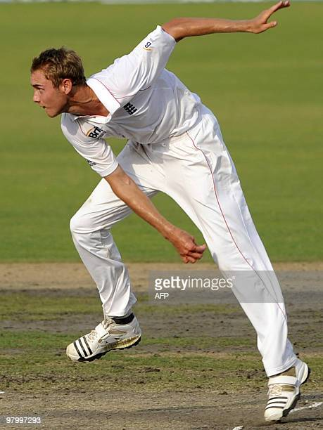 England cricketer Stuart Broad delivers a ball during the fourth day of the second Test match between Bangladesh and England at The Sher-e Bangla...