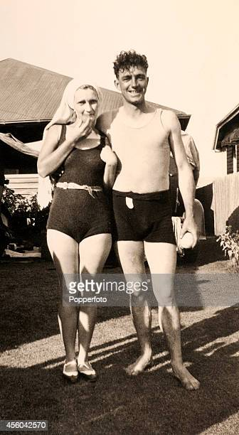 England cricketer Wally Hammond with a friend at the beach in Queensland during the England cricket team tour to Australia circa December 1928