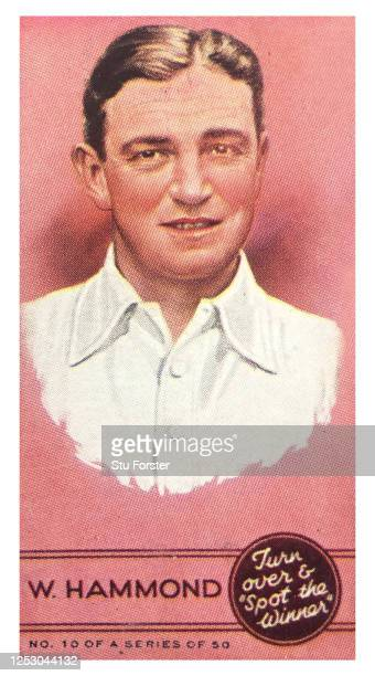 England Cricketer Walter Hammond illustrated on a Godfrey Phillips Spot the winner Sportsmen Cigarette Card from 1937.