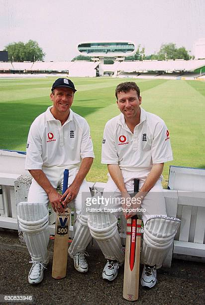 England cricketers Alec Stewart and Mike Atherton at Lord's Cricket Ground London before the 2nd Test match against West Indies 28th June 2000 They...