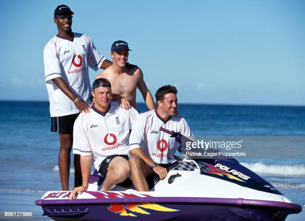 England cricketers Alex Tudor Graham Swann Andrew Flintoff and Chris Silverwood relax on a jet ski before the 2nd Test match between South Africa and...