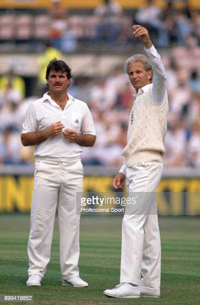 England cricketers Allan Lamb and David Gower in the field during the 3rd Test match between England and India at The Oval London 23rd August 1990...