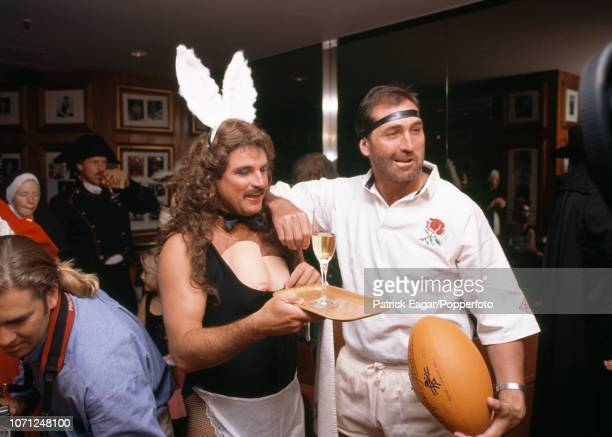 England cricketers Allan Lamb and Graham Gooch in fancy dress for their Christmas Day party in Melbourne Australia 25th December 1990