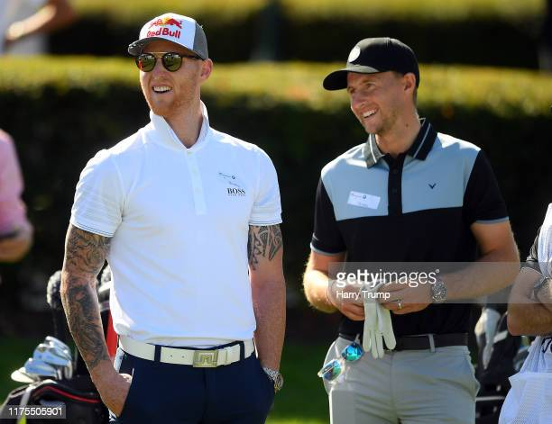 England cricketers Ben Stokes and Joe Root take part in the BMW PGA Championship Pro-Am at Wentworth Golf Club on September 18, 2019 in Virginia...