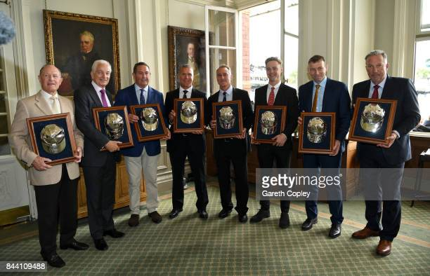 England cricketers Geoffrey Boycott David Gower Graham Gooch Alec Stewart Graham Thorpe Fabian Cowdrey Michael Atherton and Sir Ian Botham pose with...