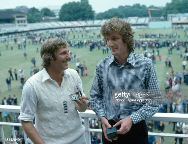 England cricketers Ian Botham and Bob Willis stand with their series medals after the 3rd Test match between England and New Zealand at Lord's...