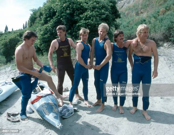 England players Ian Botham Graeme Fowler David Gower Allan Lamb and Chris Smith with photographer Graham Morris prepare to go whitewater rafting on...
