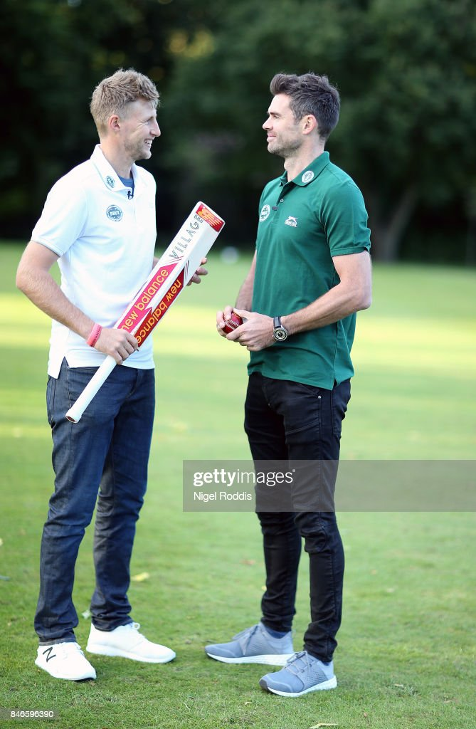 England cricketers Joe Root (L) and James Anderson pose for pictures during the Brut T20 Cricket match betweenTeam Jimmy and Team Joe at Worksop College on September 13, 2017 in Worksop, England.