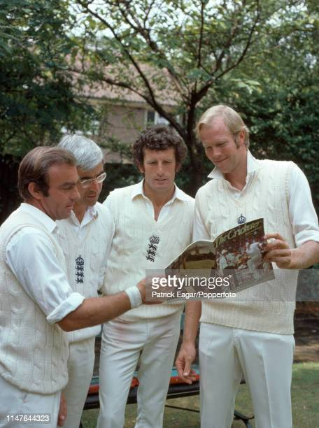 England cricketers John Edrich David Steele John Snow and Tony Greig reading the latest issue of The Cricketer magazine during the 2nd Test match...