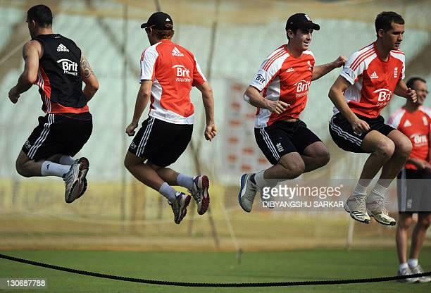 England cricketers Kevin Pietersen Jonny Bairstow Craig Kieswetter and Chris Woakes jump in the air during a team training session on the eve of the...