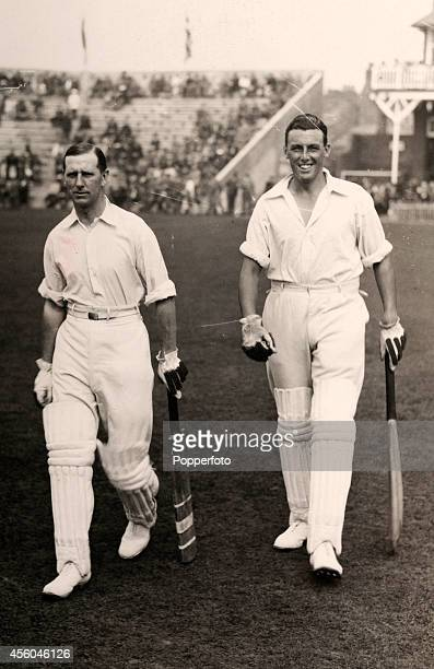 England cricketers Maurice Tate and George Tyldesley prepare to bat during the Scarborough Cricket Festival circa 1925