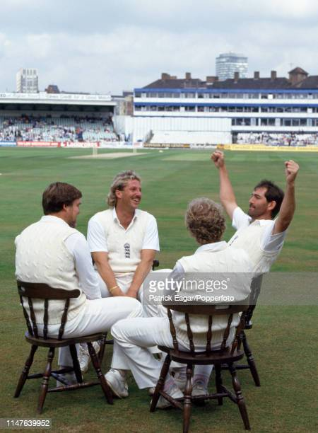 England cricketers Mike Gatting Ian Botham David Gower and Graham Gooch sit on the outfield during the 3rd Test match between England and New Zealand...