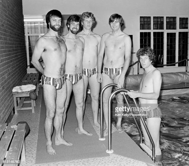 England cricketers Peter Willey Geoff Miller Graham Dilley Chris Old and Bob Willis pose by the swimming pool in the Health Clinic at Edgbaston...