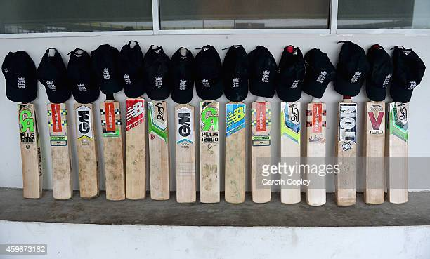 England cricketers put their bats out in their dressing room in memory of Australian cricketer Phil Hughes at R. Premadasa Stadium on November 28,...