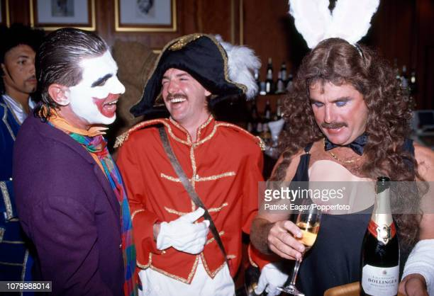 England cricketers Robin Smith Jack Russell and Allan Lamb in fancy dress for the England team's Christmas lunch in Melbourne Australia 25th December...