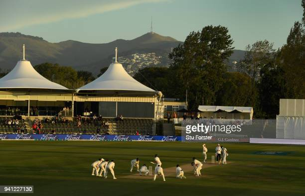England crowd the bat with fielders as Jack Leach bowls in the closing moments during day five of the Second Test Match between the New Zealand Black...