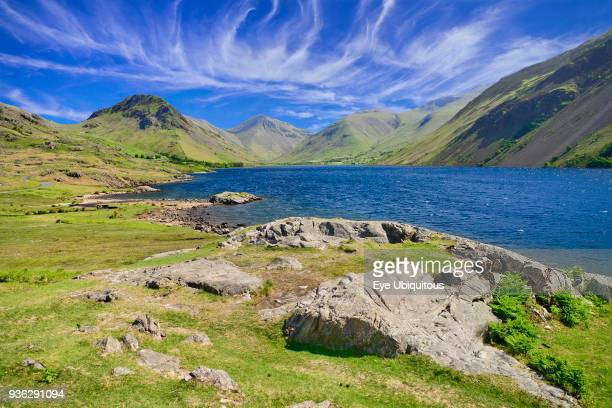 England Cumbria English Lake District Wastwater with Great Gable and Scafell Pike mountains in the background