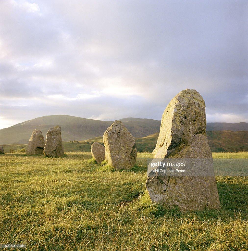 England, Cumbria, Lake District, Castlerigg neolithic stone circle : Stock Photo