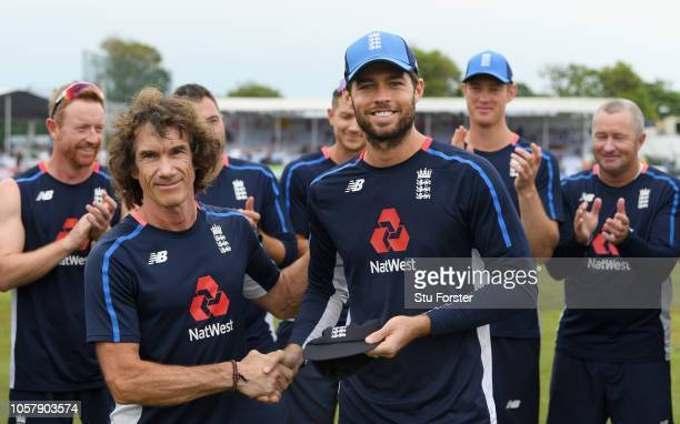 England debutant Ben Foakes receives his cap off Bruce French before Day One of the First Test match between Sri Lanka and England at Galle...