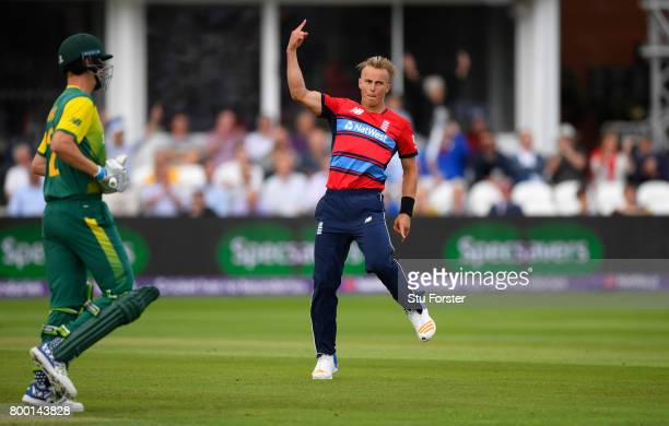 England debutant Tom Curran celebrates after dismissing Chris Morris during the 2nd NatWest T20 International between England and South Africa at The...