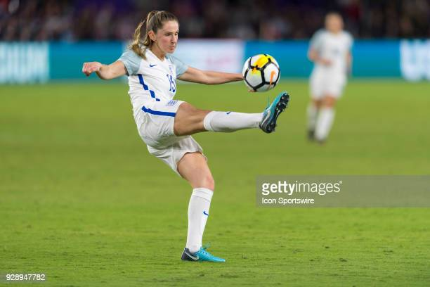 England defender Abby McManus clears the ball during the second half of the SheBelieves Cup match between USA and England on March 07 at Orlando City...