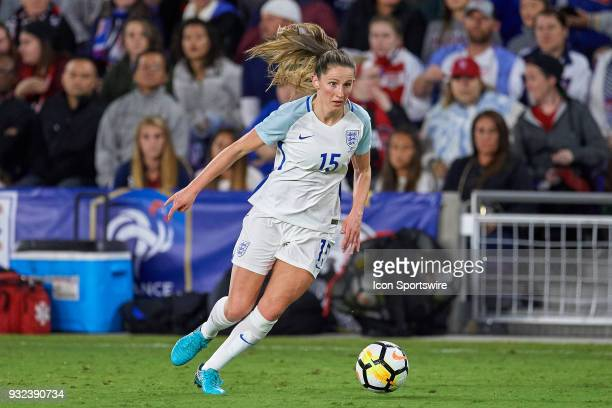 England defender Abby McManus dribbles the ball during the SheBelieves Cup match between USA and England on March 07 at Orlando City Stadium in...