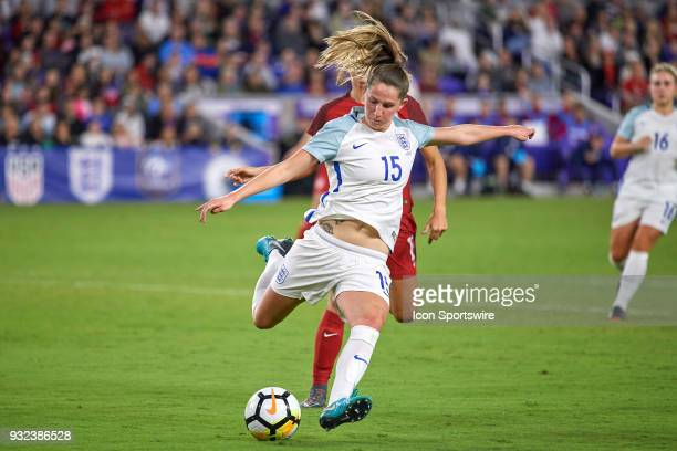 England defender Abby McManus kicks the ball during the SheBelieves Cup match between USA and England on March 07 at Orlando City Stadium in Orlando...