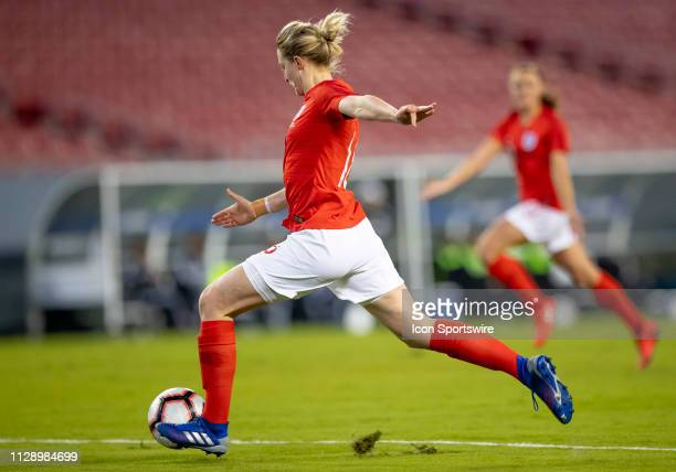 England defender Ellen White Shoots the ball during the She Believes Cup match between the Japan and England on March 5 2019 at Raymond James Stadium...