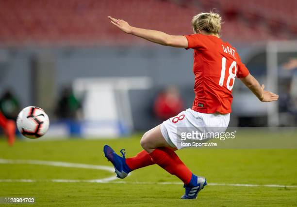England defender Ellen White Shoots the ball on goal during the She Believes Cup match between the Japan and England on March 5 2019 at Raymond James...