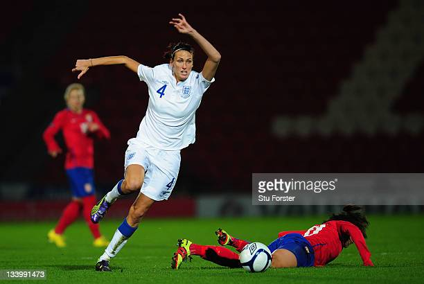 England defender Jill Scott in action during the UEFA Women's Euro 2013 qualifier between England and Serbia at the Keepmoat on November 23 2011 in...