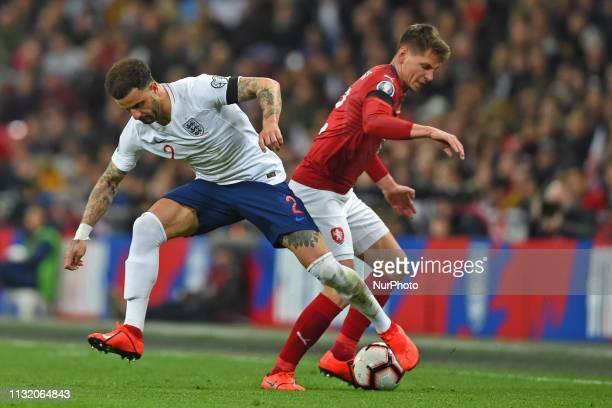 England defender Kyle Walker battles with Czech Republic midfielder Lukas Masopust during the UEFA European Championship Group A Qualifying match...
