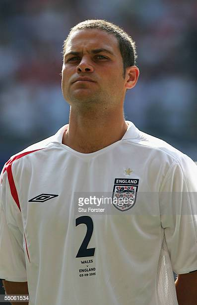 England defender Luke Young before the FIFA World Cup 2006 Qualifying Group Six Match between Wales and England at The Millennium Stadium on...