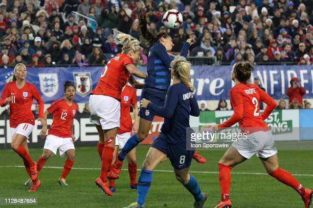 England defender Steph Houghton and United States forward Alex Morgan during the She Believes Cup match between the United States and England at...