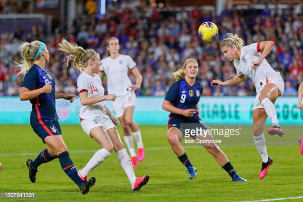England defender Steph Houghton heads the ball during the Women's SheBelieves Cup match between the USA and England on March 05, 2020 at Exploria...