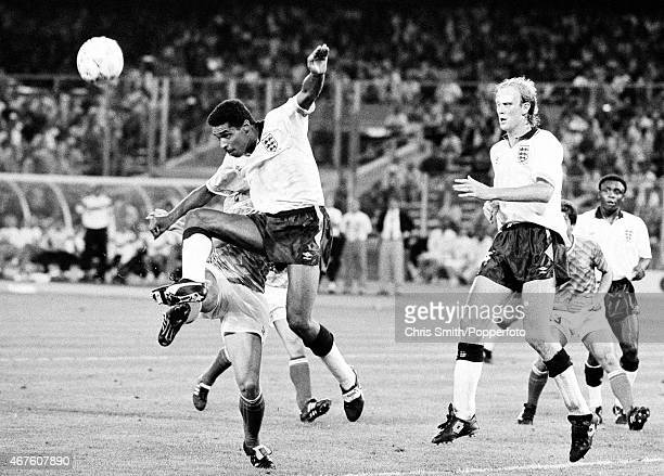 England defenders Des Walker and Mark Wright in action during the FIFA World Cup semifinal between England and West Germany in Turin on 4th July 1990...