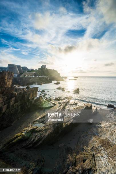 uk, england, devon, seafront of ilfracombe at sunset - ilfracombe stock pictures, royalty-free photos & images