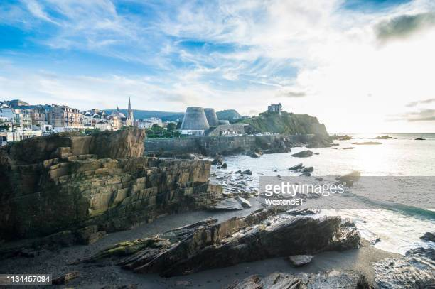uk, england, devon, seafront of ilfracombe at sunset - ilfracombe stock photos and pictures