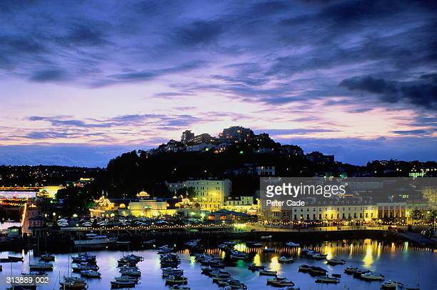 England, Devon, Torquay, view over harbour to marina lights at night