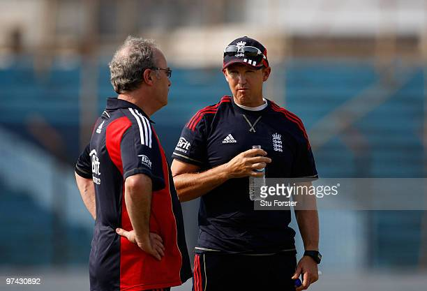 England doctor Mike Stone talks to England coach Andy Flower during England Nets at the Zohur Ahmed Chowdhury Stadium on March 4 2010 in Chittagong...