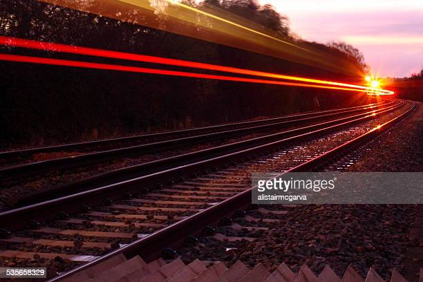 UK, England, Dorest, East Burton, Train lights