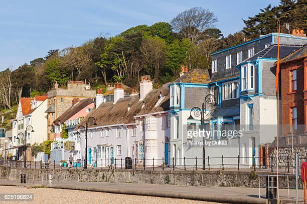 England, Dorset, Lyme Regis, Beach Front Housing and Shops.